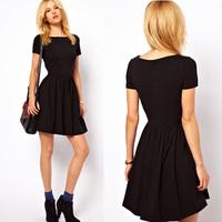 New Casual Women Jersey vintage dress Solid Design Short Sleeves vestidos de fiesta Slim black dress Fit Sweet One-piece