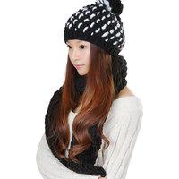 Korea Style Black Winter Warm Women Hats Scarf Set 2 pcs Knitted Wool For Girl