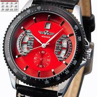 2014 New Style Men's Skeleton Mechanical Watch Luxury Automatic Date Mechanical Auto Winner Brand Black PU Leather Free shipping