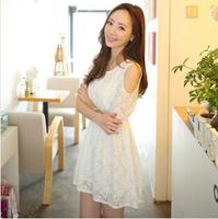 5790 Women Summer Dress 2014 White Sleeveless Top Crochet Sexy Party Dresses Lace Casual Women Dress Vestidos