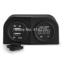 12V Car Cigarette Lighter Dual USB Power Plug Socket with Voltmeter Volt Meter