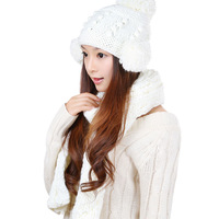White 2014 women's autumn and winter hat scarf set kit 2 piece white soft scarfs For women
