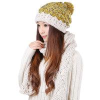 Winter Warm Beige Scarf Hat Set 0303 Fashion Knitted Scarves For Women Beanie Skullies