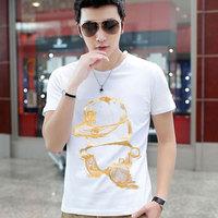 2014 short-sleeve men's clothing t-shirt male t-shirt summer clothes slim 100% male short-sleeve cotton white