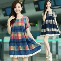 2014 hot sale linen A plaid dress casual style short ladies lovely dress free shipping