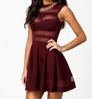 2014 New European Style Women Summer Mesh Patchwork A Line Casual Dress Lady Pink Lolita Cute Dress