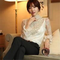 Free shipping 2014 women's stand collar elegant lace basic shirt long-sleeve slim handmade beading lace shirt female