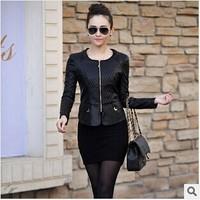 Hot Sale 2014 Winter New Women Leather Jacket Slim O-neck Collar Plus Size Motorcycle PU Leather Jacket Coat Ladies Outwear Coat