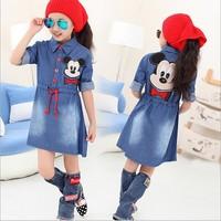 Denim dress long sleeve Mick*y design for Middle big girls casual cotton dress 120-160cm 6-14T girls Fall cute dress Mouse shirt