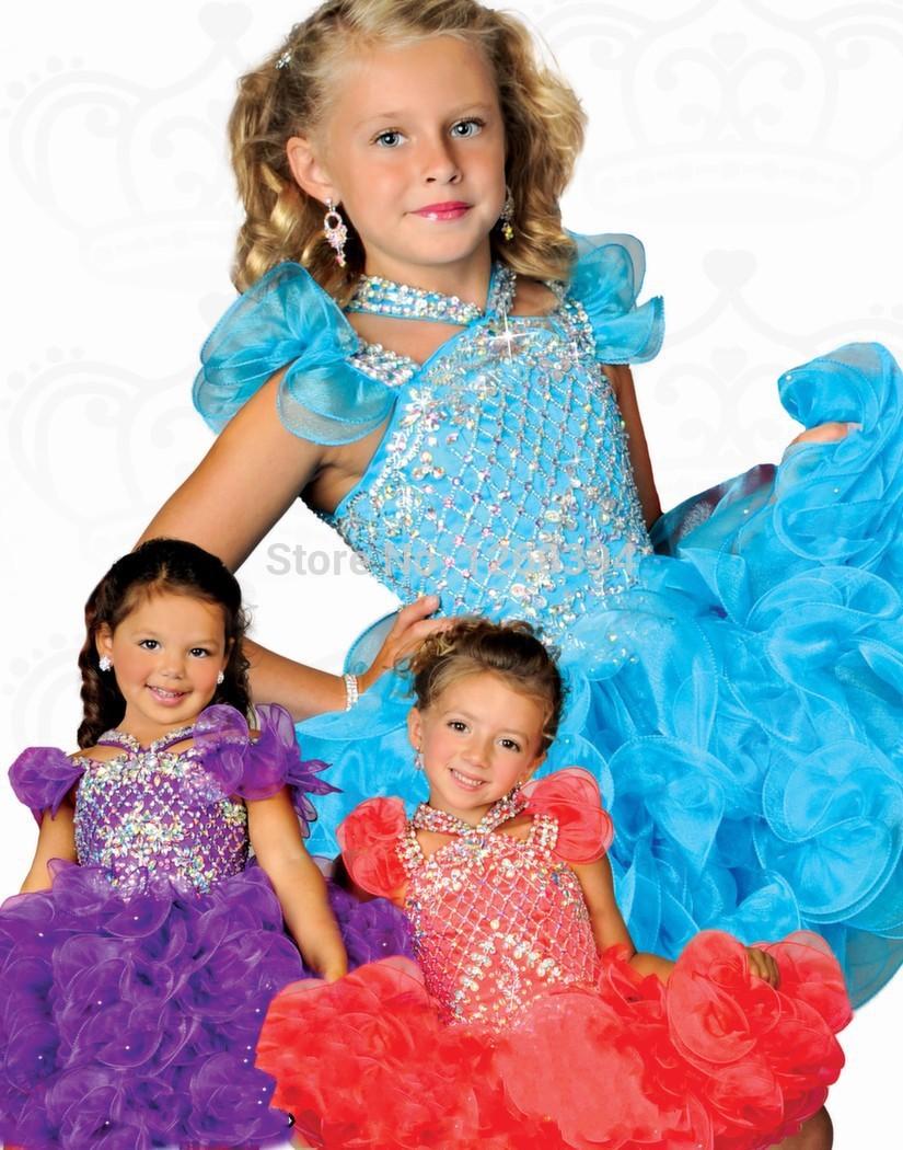 2014 Top Selling Mini Organza Flower Girl Dress Vestidos De Menina Beaded Blue Bling Blue Ruffles Kids vestido daminha casamento(China (Mainland))
