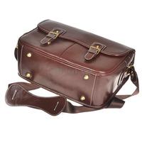 NEW Korean Style Universal Imitation Leather Camera Bag - Dark Coffee