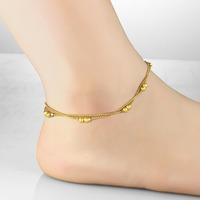 Vintage Design Double Layer 18K Gold Plated Women Anklet EU/US Prosperity Beads Ankle Jewelry Bracelet 728