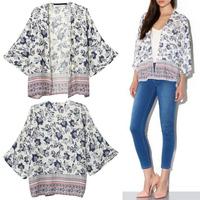 2014 Summer New Vintage Ethnic Kimono Sleeve Floral Printed Cardigan Jacket Coat Blouse T-Shirt Tops