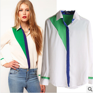 Women Blouses Blouse Europe And The United States of New Fund of 2014 Autumn Winters Is Big Yards Color Matching Lapel Sleeve(China (Mainland))