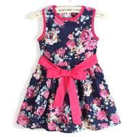 819 girls apparel sale 2~9age girl's fashion dress in summer cotton flower 1pcs retail