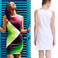 812geometric stripped contrast color printing sexy nightclub slim dress