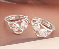 New Arrivals 1pair sterling silver Amazing heart Womens CZ hoop earrings