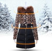 Ms. Down coat 2014 New Fashion Women's Winter leopard Long Down Parkas Warm Outwear Coats ladies hood jackets casual clothes