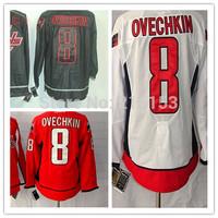 Wholesale ICE Hockey Jerseys #8 Alex Ovechkin White Red Black 100% Polyestser Jersey C Patch Free Shipping
