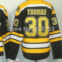 Boston Bruins Women ICE Hockey Jerseys #30 Tim Thomas Black Home Embroidery V-neck Women Clothing