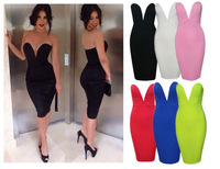 ALK6861 FREE SHIPPING SEXY STRAPLESS DEEP V PLUNGE BODYCON STRETCH PENCIL KNEE LENGTH PENCIL CLUBWEAR COCKTAIL PARTY PROM DRESS