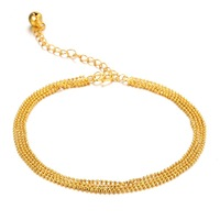 Korean Style Multi-Layer Lucky Beads Anklet Fashion Exquisite Women Foot Jewelry Chain Ankle Bracelet 729