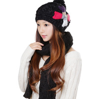 Autumn Winter Black thermal ladies Two Piece Set Hat scarf set Suite 0274 hat scarf women Girl Knitted Warm