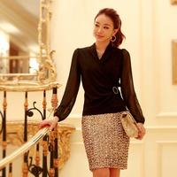 Free Shipping New White/Black Blouse Fashion Casual V-neck Chiffon Long Sleeve Slim Shirt 2014 Autumn Women's Work Wear Hot Sale