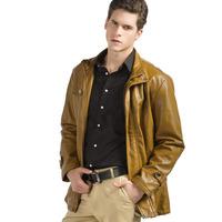 Amurleopard Men's Fashion Clothing Faux Leather Jacket Khaki/Black/Brown Coat Outerwear