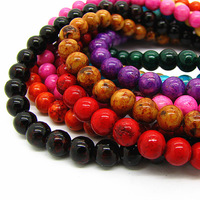 Natural Stone Beads Mix Color Fossil Rondelle Cabochon Semi Precious Spacer Bead For Necklace & Bracelet Making HB363