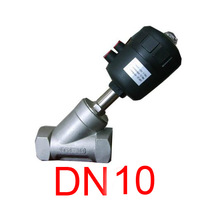 DN10 Stainless Steel 3/8'' Pneumatic Angle Seat Valve For Air Gas Water with plastic actuator