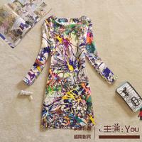 Free shipping Fashion 2014 women paint doodle splash-ink print fashion elegant plus size colorful one-piece dress