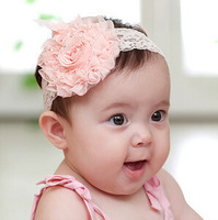 2014 hot selling Free shipping Headdress Princess Lace Baby Infant Tulle Lace Headwear Flower Hair Band Toddler Headband