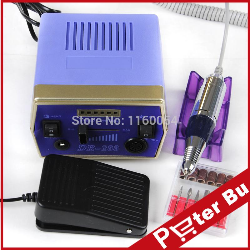 Blue 30000 RPM Pro Electric Art Nail Drill File Improved Overheat + Vibration Manicure Set EU /US Plug kit 526(China (Mainland))