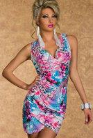 2 Color Women Sexy Fashion Bodycon Noble Dress Sleeveless deep V sexy print dress vestidos One Szie