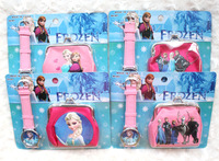 New! Free shipping  12pcs Popular Cartoon Frozen  watches and 12pcs wallet sets Toy Wholesale