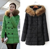 Plus size XL~6XL women winter down jacket fur collar medium long slim parkas ladies thick hooded double-breasted down coats
