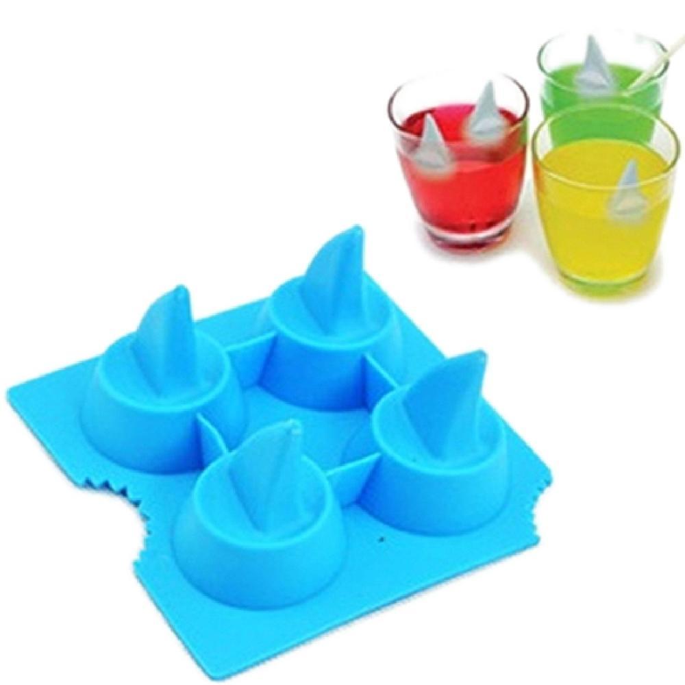 Free Shipping Shark 3D Shape Ice Tray Cool Brain Shape Ice Cube Freeze Mold Ice(China (Mainland))