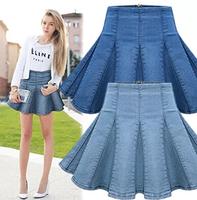 2014 Early Autumn High Street Pleated Women Jeans Skirt High Waist Slim Trend All-match Ladies Denim Skirt  Europe Style Skirt