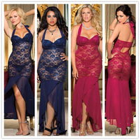 R7851 New Arrival Hot With Full Lace See Through Low Cup Sexy Pajamas Plus Size Sexy Lingerie Long Dress