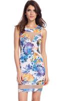 Women Summer 2014 Sexy Bodycon Dress Mesh Cutouts Mini Floral Print Formal Casual Party Vestidos B4831