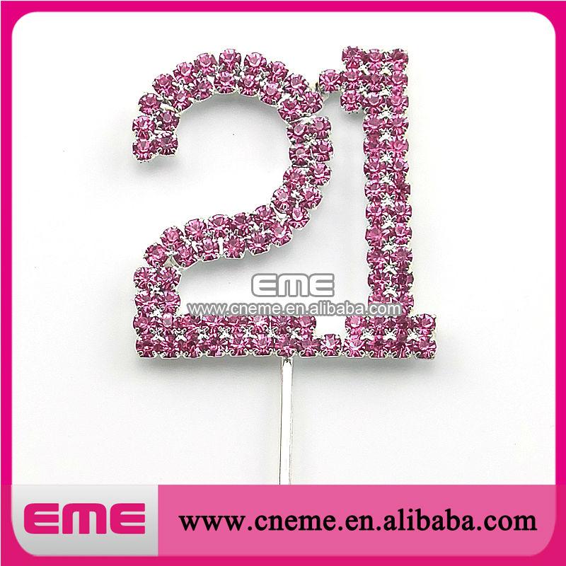 35mm 21 Years Old Birthday cake topper Rhinestone cake topper DHL Free Shipping(China (Mainland))