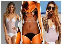 Golden Triangle One Pieces White Mesh Cut Out Skimpy Swimsuit For Women,One Piece Black Print Coco Bodysuit monokini Swimwear