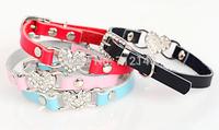 New 10pcs/lot Genuine Leather Pet Collar Clear Rhinestones Heart Dog or Cat Collar