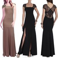 Black and Khaki Colour Ladies HL Bandage Dress Long Length Short Sleeve Square Collar Dress Evening Party Dress Prom Dress