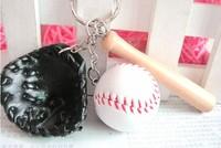 Mini baseball piece set keychain key ring key chain gift
