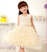wholesale new fashion girl wedding dress princess ,kids flower girl party dress 5pcs/lot 4color free shipping G-13