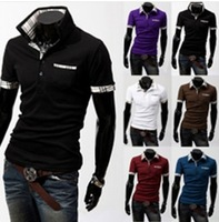 Men's clothing 2014 summer paragraph short-sleeve casual shirt  shirts man blouses handsome boy