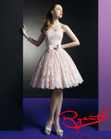 RBC776 Cute Pink Lace Girl Robe De Cocktail Dress Ball Gown Party Gown 2014 Custom Made Fast Shipping