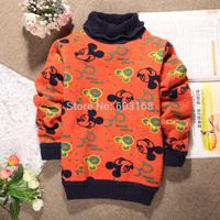 Mickey Turtleneck Keep Warm Baby Kid Sweatercoat Girls Sweater Wool Liner Children Wear Sweaters {iso-14-8-12-A9}